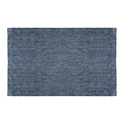 Blu Dot - Blu Dot Golf 5' x 8' Rug, Denim Blue - A bright field of Kilim woven color suitable for indoor or outdoor use.100% recycled PET
