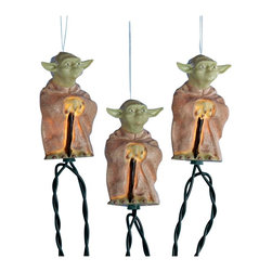 "Lamps Plus - Themed Star Wars Yoda 10-Light String of Party Lights - Celebrate the epic Star Wars series with these fun party lights. Each light features a full-color replica of Yoda lighted from within by a small fixture. Indoor/outdoor use. 10-light string. 12"" spacing between lights. 30"" lead wire. Includes spare bulbs and fuses. Total length 11 1/2 feet.  Indoor/outdoor use.   10-light string.   12"" spacing between lights.   30"" lead wire.   Includes spare bulbs and fuses.   Total length 11 1/2 feet."