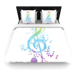 """Kess InHouse - Frederic Levy-Hadida """"Rainbow Key"""" Multicolor Music Cotton Duvet Cover (Twin, 68 - Rest in comfort among this artistically inclined cotton blend duvet cover. This duvet cover is as light as a feather! You will be sure to be the envy of all of your guests with this aesthetically pleasing duvet. We highly recommend washing this as many times as you like as this material will not fade or lose comfort. Cotton blended, this duvet cover is not only beautiful and artistic but can be used year round with a duvet insert! Add our cotton shams to make your bed complete and looking stylish and artistic!"""