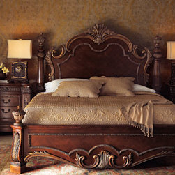 Horchow - Royalty Queen Set - Elegant carvings grace this bedroom furniture made of birch solids with cherry veneers. Bedecked with antiqued brass hardware and golden resin accents, this set lends a grand look to the master bedroom. Save with discounted delivery and processing charg...