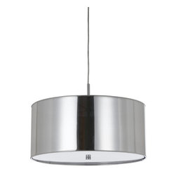 Cal Lighting - Cal Lighting FX-3523/1P Nianda 2 Light Pendant with Metal Shade - Cal Lighting FX-3523/1P Nianda 2 Light Pendant with Metal ShadeThis sleek and modern pendant features a shimmering finish and a metal and fabric drum shade.Cal Lighting FX-3523/1P Features:
