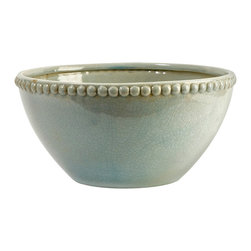 CKI Pratt Bowl - In a serene celadon finish, the ceramic Pratt bowl designed by Carolyn Kinder features hobnail detailing with classic style.