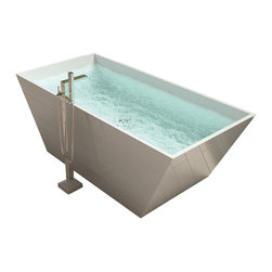 ADM - ADM White Stand Alone Solid Surface Stone Resin Bathtub, Matte - SW-119