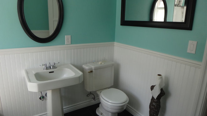1940s bathroom remodel old in yellow new in blue black for Bathroom ideas 1940