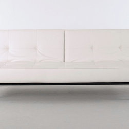 "Innovation USA - ""Innovation USA"" Splitback White Leather Textile Sofa Bed with Wood Legs - Start planning your modern and luxurious living with the ""Innovation USA"" Splitback White Leather Textile Sofa Bed with Wood Legs! The sofa has a space saving design with the adjustable backrests, allowing the transformation from sofa to a chaise and a bed. The sofa bed features a powder coated steel frame with walnut legs and the patented Icomfort pocket spring mattress.    Features:"