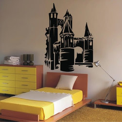 StickONmania - Castle Sticker - A fantasy castle sticker for your kids room. Decorate your home with original vinyl decals made to order in our shop located in the USA. We only use the best equipment and materials to guarantee the everlasting quality of each vinyl sticker. Our original wall art design stickers are easy to apply on most flat surfaces, including slightly textured walls, windows, mirrors, or any smooth surface. Some wall decals may come in multiple pieces due to the size of the design, different sizes of most of our vinyl stickers are available, please message us for a quote. Interior wall decor stickers come with a MATTE finish that is easier to remove from painted surfaces but Exterior stickers for cars,  bathrooms and refrigerators come with a stickier GLOSSY finish that can also be used for exterior purposes. We DO NOT recommend using glossy finish stickers on walls. All of our Vinyl wall decals are removable but not re-positionable, simply peel and stick, no glue or chemicals needed. Our decals always come with instructions and if you order from Houzz we will always add a small thank you gift.