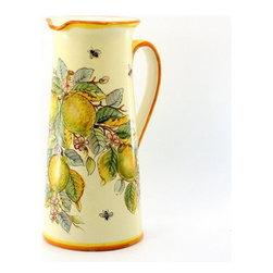 Artistica - Hand Made in Italy - Limoni Fondo Miele + Api: Tall Cylindrical Pitcher/Vase - Limoni Fondo Miele + Api: