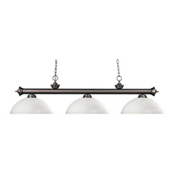 Z-Lite - 200-3BN-DMO14 Brushed Nickel Riviera 3 Light Chandelier with Glass Shade - Z-Lite 200-3 D 14 Riviera 3-Light Island Light Riviera 3-Light Island LightElegant and traditional best describes this beautiful three light fixture.