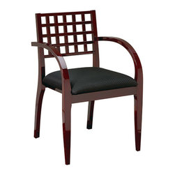 Office Star - OSP Furniture Mendocino MEN-98-MAH Leg Chair w/ Wood Criss-Cross Back, Set of 4 - Wood guest seating coordinates with Mendocino case goods. Leg chair with criss-cross back and upholstered seat. High gloss mahogany. Ships 4 per carton, frame fully assembled, seat cushion unmounted.