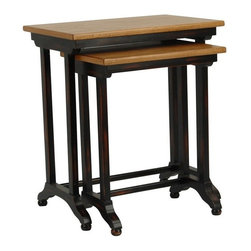 Safavieh - Safavieh Annie Pair of Nesting Tables X-A5004HMA - Industrial-chic style defines the Annie nesting tables, a practical entertainment solution for casual contemporary homes. Birch Wood is used in Black for legs and bases, and in medium oak tone to reveal the table Tops' natural graining. No assembly required.