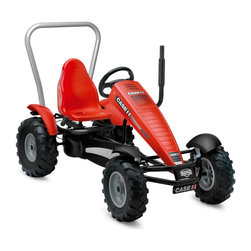 Berg USA - Berg USA Case-IH BF Pedal Go Kart Riding Toy - 03.73.73.00 - Shop for Go Karts from Hayneedle.com! They may not get the spring planting finished but your child may do some serious plowing in the dirt when they tear around on the Berg USA Case-IH BF-3 Riding Toy. This metal-framed rider is finished with a recognizable red style that's officially licensed from Case International Harvester. Heavy duty tie rods let them pedal their hearts out on air-filled tractor tires and the BF hub makes it possible to pedal forwards or in reverse and even gives them shoe-powered brakes. If the look wasn't cool enough they'll love the tough roll bar and upright exhaust pipe that lets the other kids know that they mean business. Try adding the Berg USA Trailer Junior Riding Toy for added imaginative play. This riding toy is recommended for children ages 5 and up. Adults under 6-ft. and 285 lbs. can also ride comfortably.Additional FeaturesIncludes functional metal rollbarBF-3 (brake and freewheel with 3-speed gear shift) hub for easy pedal controlHand and pedal brakes with brake shoesSealed-bearing wheels for effortless rolling on all terrain4 wheel mud guards and chain cover for safetyDashboard decals include speedometerRealistic-looking hood exhaust pipeAttractive and adjustable color-coordinated sport seatSport-grip steering wheel with pretend airbagAbout Berg USAFounded in 2010 Berg USA is quickly becoming a recognized name in children's riding toys with their innovative designs and attention to safety that don't get in the way of their dedication to providing outdoor exercise for both kids and adults. Berg USA designs and offers a wide variety of high-quality pedal go-karts for home or commercial use ranging in size to comfortably accommodate ages 2 through adult as well as their versatile line of MOOV construction kits.Please note this product does not ship to Pennsylvania.