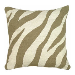 123Creations - Taupe Zebra Stripes Needlepoint 18 x 18 Pillow - -100% Wool Hand Embroidered 123Creations - C728B-18X18