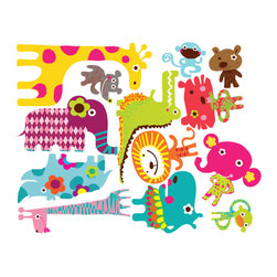 Pop & Lolli - Fabric Decals - Noah's African Circus - Preciously hilarious & sizzling with style, these African Circus Pairs are made from rainbow shine, golden glare, sunshine flair and a touch of silver lining. Use as a single design for simple fun, or combine various favorites to add some funky & spunky to any room for an interactive experience. Unique in its concept and application you create your own fabulous & flexible artistic mural constantly changing as your mood depicts and time evolves.