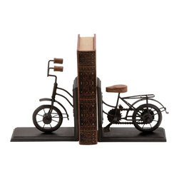 Bookend PairMetal with Classic Cycle Design - Worried about ensuring safety of your special books. Beautiful Bookend Metal with Classic Cycle Design (Pair) can give that special book the special place it deserves using this metal bookend. Shaped like a classic bicycle from the years gone by, this Metal Bookend with a Cycle Design lets you place a book in a perfect space at the middle of the bicycle. With its stable base and adorable metallic finish, this bookend is sure to add an indelible and unmistakable rustic touch to your book case, study table or any other personal space. This metallic bookend with its beautiful design makes for a great gift for a friend who is a true book lover. Made from durable metal, this bookend is resistant to rust and is sure to cradle your favorite classic for many years to come.. It comes with the following dimensions