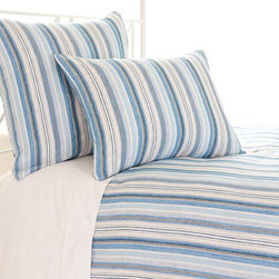 Pine Cone Hill - Pine Cone Hill Honfleur Linen Duvet Cover - Hit the BeachTake the beach home with you. Pine Cone Hill's Honfleur Linen Duvet Cover is the perfect way to mix it up with some oceanfront-inspired style. Crafted from fine linen fabric, this striking duvet cover features a sea of nautical stripes in blue, ivory, and gray. Play up the clean lines in a contemporary space, or let the pattern give your coastal bedroom a relaxed feel. Beachy!Hidden-button closureAvailable in three sizes
