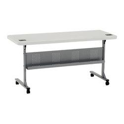 National Public Seating - National Public Seating Commercialize Blow Molded Flip-n-Store Table in Gray - Introducing a new concept for any training room, conference room or seminar set-up. Blow-molded, high-density polyethylene table that flips open and closed for easy use and storage.