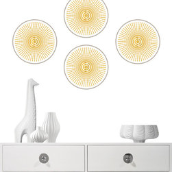 Wall Pops - Jonathan Adler Wall Pops Santorini Wall Decals - The WallPops Santorini wall decals by Jonathan Adler delight with global glamour. Available in three styles, the gray, white and gold designs lend the mod interior shimmering brilliance. Available in 3 styles; Set of 4 Dots features a single sunburst on each circle; Set of 4 Blox features a linear weave pattern; Individual Stripes feature a linear weave pattern; High-quality vinyl; Peel-and-stick designs are repositionable and removable with no sticky residue; Made in the USA; Wipe clean with a damp cloth