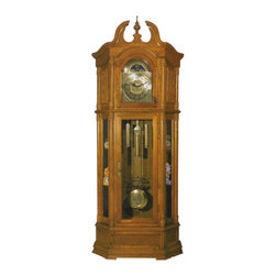 """Acme - Light Oak Finish Wood Grandfather Clock with Side Curio Cabinets - Light Oak Finish Wood Grandfather Clock with Side Curio Cabinets, some assembly required, does require you to wind the clock each month, pendulum does swing with the seconds. Doors open up to the pendulum and the face of the clock. Measures 27"""" x 11"""" x 84""""H"""
