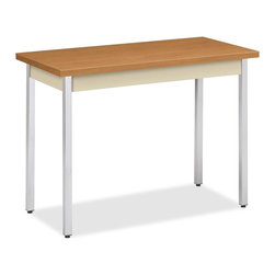 "HON - HON Utm2040 Utility Table, Rectangle, 40""x20""x29"", Polyvinyl Chloride - Rectangular utility table features a 1-1/8 thick laminate top with self edge, square corners, PVC edge banding, 3-1/8 high metal apron and 1-11/16 overhang. Both sides have a thermal-fused melamine surface. Square, chrome-plated legs have adjustable leveling glides that screw in. Utility table is made of steel and meets or exceeds applicable Ansi/Bifma standards."