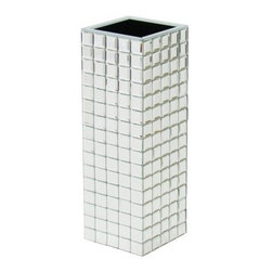 Wayborn MB002 Beveled Mirror Vase - Place flowers of all kinds in the gleaming Wayborn MB002 Beveled Mirror Vase. Featuring a mosaic mirrored design, this beveled vase is crafted with a pine wood base. Square in shape, this vase is sure to fit your favorite floral arrangements.About WaybornWayborn Furniture & Accessories Inc., is a leading importer and wholesaler of decorative home accessories, located in City Of Industry, Calif. In the early years, the foundation of Wayborn's business was selling cormandel screens and black lacquer cabinets. Since then, it has expanded its line to fulfill the needs of the ever-changing home furnishings trend. Its products are handmade from natural arts and artifacts, and are manufactured and imported from China. Wayborn is committed to providing superior service to retailers, while maximizing the value of the products it supplies.