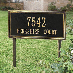 Ballard Designs - Beaded Rectangle One Line Lawn Address Sign - Made in the USA. Choose from two sizes to fit your address. Available in wall mount or in-ground installation style. Add curb appeal with a distinguished address plaque while making your home easily visible to guests or emergency responders. Crafted of cast aluminum to withstand the harshest outdoor elements for years to come.Beaded Rectangle Outdoor Signs feature:. . . *Please note that personalized items are non-returnable.