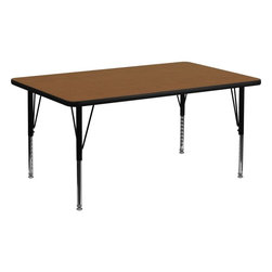 """Flash Furniture - 24''W x 48''L Rectangular Activity Table with Oak Top and Pre-School Legs - Flash Furniture's Pre-School XU-A2448-REC-OAK-H-P-GG warp resistant high pressure laminate rectangular activity table features a 1.25"""" top and a high pressure laminate work surface. This Rectangular High Pressure Laminate activity table provides an extremely durable (no mar, no burn, no stain) work surface that is versatile enough for everything from computers to projects or group lessons. Sturdy steel legs adjust from 16.25"""" - 25.25"""" high and have a brilliant chrome finish. The 1.25"""" thick particle board top also incorporates a protective underside backing sheet to prevent moisture absorption and warping. T-mold edge banding provides a durable and attractive edging enhancement that is certain to withstand the rigors of any classroom environment. Glides prevent wobbling and will keep your work surface level. This model is featured in a beautiful Oak finish that will enhance the beauty of any school setting.; Rectangular Activity Table; Pre-School Table; Scratch and Stain Resistant Surface; 1.25"""" Thick High Pressure Oak Laminate Top; 1.25"""" Thick High Pressure Oak Laminate Top; Black Edge Band; 16 Gauge Tubular Steel Legs; Black Powder Coated Upper Legs and Chrome Lower Legs; Legs Adjust in 1"""" Increments; Self-Leveling Nylon Floor Glides; Recommended Seating Capacity: 4 Children; 2 Year Limited Warranty; View All Sizes and Finishes; Weight: 51 lbs; Overall Dimensions: 24""""W x 48""""D x 16.25"""" - 25.25""""H"""