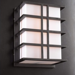 """PLC Lighting - Amore Outdoor Wall Sconce in Architectural Bronze - Features: -Outdoor wall sconce. -Architectural bronze finish. -Available in 13.75"""" or 26"""" height sizes. -Die cast aluminum construction. -Acrylic glass shade. -Suitable for wet location. Specifications: -Accommodates (2) 60W A19 bulb (not included). -13.75"""" Lamp dimensions: 13.75"""" H x 9.75"""" W x 7"""" D. -26"""" Lamp dimensions: 26"""" H x 9.75"""" W x 7"""" D."""