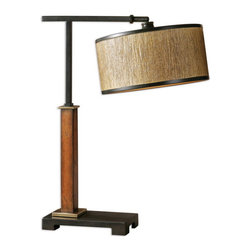 Uttermost - Uttermost 29497-1  Allendale Wooden Buffet Lamp - Distressed burnished wood with aged black details, coffee bronze accents and a pivoting shade. the round drum shade is a golden bronze grass cloth with a liner and aged black metal trim.
