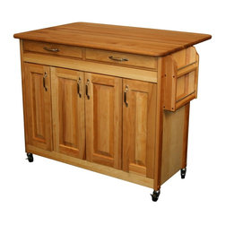 Catskill Craftsmen - Wood Butcher Block Cart - Larger drawer. Drop leaf doubles work surface. Adjustable interior shelf. Spice rack. Towel bar. Raised panel doors. Raised drawer front. Locking caster wheels. Nickel plated hardware. Warp resistant side and back panels. Made from solid hardwood. Oiled finish. Made in USA. Drawer: 34 in. L x 12.25 in. W x 2.5 in. H. Table top with drop leaf up: 42 in. L x 28 in. W. Table top with drop leaf down: 42 in. L x 18 in. W. Care Instructions. Assembly Instructions