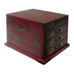 Golden Lotus - Chinese Red Phoenix Dragon Mirror Jewelry Box - This jewelry box is modified from the traditional Chinese box. It is made of cardboard paper and covered with artificial leather.