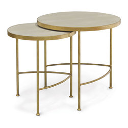 Kathy Kuo Home - Olivia Hollywood Regency Faux Shagreen Taupe Gold Nesting Tables - Set of 2 - Hollywood Regency and Industrial Loft have come together to create this stylish set of two nesting tables. Faux taupe shagreen adds texture to the circular tabletops. Gold leaf finishes the framework and adds gilded glamour to these transitional tables.