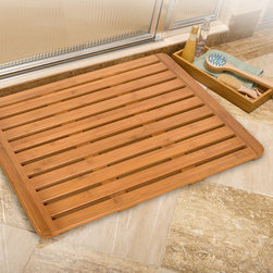 None - Classics Bamboo Bathroom Floor Mat (26 in x 20 in) - The Eco Friendly Seville Classics Rectangular Bamboo Bathroom Floor Mat is a stylish solid bamboo mat that features linear open slats,raised profile for efficient air circulation. and skid resistant silicone feet.