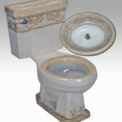 """Hand Painted Toilets by Atlantis - """"Toscano Suite"""" Painted on AP-3001 white Arena I round front toilet 16"""" comfort height and AP-1505 white Donna drop-in sink with overflow 20""""x16""""."""