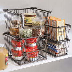 InterDesign York Lyra Open Organizer Bin - Stackable wire baskets make for great vertical storage in a cramped cupboard. I use similar containers to store school snacks and protein bars.