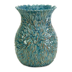 Small Lotus Leaves Vase - This beautiful ceramic vase can serve as artwork for a shelf or tabletop.