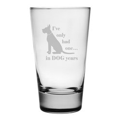 Susquehanna Glass - Dog Years Hiball Glass, 15.5oz, S/4 - Each 15.5 ounce tumbler is sand etched with a playful dog-themed design. Dishwasher safe. Sold as a set of four. Made and decorated in the USA.