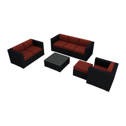 Harmonia Living - Urbana 5 Piece Outdoor Wicker Sofa Set, Henna Cushions - Create the outdoor living room you've always dreamed of with this set, which includes a couch, a love seat, a club chair and ottoman, a coffee table and Sunbrella® cushions. The durable, UV-protected aluminum and wicker construction means you can relax outside for years to come, and the cushions are moisture-resistant and easy to clean. Perfect for the host who loves to entertain outdoors.