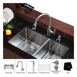 Kraus - Kraus 33 inch Undermount Double Bowl Stainless Steel Kitchen Sink with Kitchen F - *Add an elegant touch to your kitchen with unique Kraus kitchen combo