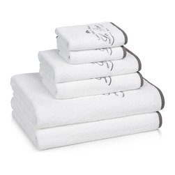 Le Bain Egyptian Cotton Bath Towels (White/Black) - Parisian inspired, the Le Bain Bath Towels have an timeless embroidered French script and bee motif design. Their rounded corners and black fabric trimmed edges sets them apart from most others. The Egyptian Cotton gives the towels superior absorbency and extraordinary softness. Reg $7.99 to $94.99.  On Sale now from $6.95 to $78.95