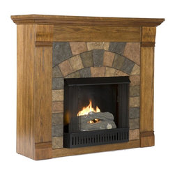 Holly & Martin - Elkmont Salem Gel Fireplace in Antique Oak - Includes metal firebox, cement log, faux coal cinder and screen kit. Fuel not included. Ventless. Faux slate front. Beautiful media room accent. Supplements heat to save on energy consumption. FireGlo gel fuel snaps and crackles like real wood. Emits no smoke, odor and or ash. Holds upto 3 cans of gel fuel simultaneously for full bodied 6 - 8 in. flame. Each can of FireGlo produces upto 3000 BTU. Metal firebox withstands more than 9000 BTUs to safely handle gel fuel. Mantel supports up to 85 lbs.. Accommodates up to 42 in. flat screen TV. Made from Chinese oak, resin, veneer and MDF with PB. Assembly required. 45.5 in. W x 14.5 in. D x 40 in. H (101 lbs.)None of the mess of a wood burning fireplace. Beautifully rustic, this antique oak fireplace exudes character and style. The stunning wood grain is further enhanced with aged distressing such as worm holes and small marks and imperfections making each piece unique. The faux slate front has a stunning pattern of tiles that arch across the front creating this true masterpiece. Portability and ease of assembly are just two of the reasons why our fireplace mantels are perfect for your home. Requiring no electrician or contractor for installation allows instant remodeling without the usual mess or expense. In addition to your living room or bedroom, try moving this fireplace to your dining room for romantic dinners or complement your media room with a ventless fireplace below your flat screen television. Use this great functional fireplace to make your home a more welcoming environment.. Made from Chinese oak, resin, veneer and MDF