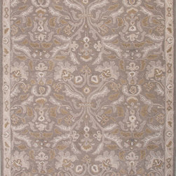 Jaipur Rugs - Hand-Tufted Oriental Pattern Wool Gray Area Rug ( 5X8 ) - The Poeme Collection takes traditional designs and re-invents them in a palette of modern, highly livable colors. Each design is made from premiere hand-spun wool and crafted with precision for the look and feel of a hand-knotted rug, at the more affordable cost of a hand-tufted. Poeme will effortlessly coordinate individual design elements to finish any room.
