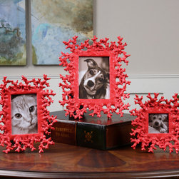 Red Coral, Photo Frames, S/3 - These photo frames feature a dynamic, bright red finish. Holds photo sizes 3×3, 4×6 & 5×7.