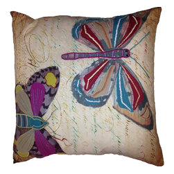 Butterfly Pillow - Feel the whispering soft flutter of delicate wings against your skin.  Our Butterfly Pillow will intoxicate the senses with its hum of vibrant hues and intricate print and embroidered design.