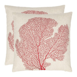 Safavieh - Safavieh Reef 18-inch Beige/ Red Decorative Pillows (Set of 2) - The exotic allure of fan coral is accurately portrayed on these square decorative pillows. Done in a crisp linen and cotton blend,these pillows are accented with bold red stitching for a striking contrast. They are ideal for any ocean lover.