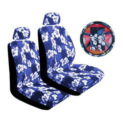 None - Blue Hibiscus 7-piece Car Accessories Set - Brighten your car's interior with a 7-piece Hawaiian Hibiscus-print accessory set Set includes two low back seat covers, two headrest covers, a steering wheel cover and two seatbelt pads Car seat covers feature a universal design