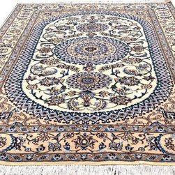"Individual - 6'-6""x10'-6"" Wool & Silk Persian Nain rug - Here I am offering a good quality Persian Nain area rug. Nain rug is among the high quality Persian rugs and usually is made of silk & wool pile. The one that I am offering here is in mint condition, all flowers are highlighted with silk, measures 6'-6"" x 10'-6"". Folks who are looking for light color combination and wanted to avoid the reds & blue domination on high quality rug, this would be the right call. Best of all is offered at very reasonable price of $1,449.00. Remember this is Real Mccoy, a true Persian rug."