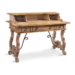 Gilbraltar Writing Desk - Hand-forged brackets and lyre-shaped legs give an elaborate old-world feel to the Gibraltar Writing Desk, a weighty surface crowned with scroll-edged slots and incorporating elegantly-proportioned drawers beneath its solid top. Perfect for working in absolutely inspiring style, this dramatic desk also has an impressive decorative presence in your living room or bedroom.