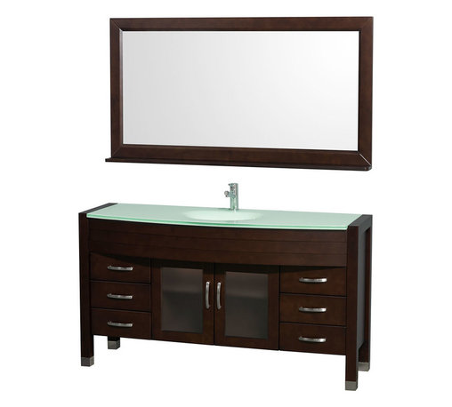 Wyndham - Daytona Single Vanity 60in. in Espresso w/ Green Glass Top & Sink - The Daytona 60 in.  Single Bathroom Vanity Set - a modern classic with elegant, contemporary lines. This beautiful centerpiece, made in solid, eco-friendly zero emissions wood, comes complete with mirror and choice of counter for any decor. From fully extending drawer glides and soft-close doors to the 3/4 in.  glass or marble counter, quality comes first, like all Wyndham Collection products. Doors are made with fully framed glass inserts, and back paneling is standard. Available in gorgeous contemporary Cherry or rich, warm Espresso (a true Espresso that's not almost black to cover inferior wood imperfections). Transform your bathroom into a talking point with this Wyndham Collection original design, only available in limited numbers. All counters are pre-drilled for single-hole faucets, but stone counters may have additional holes drilled on-site.