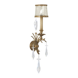 Fine Art Lamps - Monte Carlo Sconce, 569050ST - Swirled glass in a gilded frame — the perfect complement to clear, sparkling crystal. Add this elegant sconce to your favorite formal room for a warm, wondrous feeling.