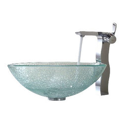 Kraus - Kraus Mosaic Glass Vessel Sink and Sonus Faucet Chrome - *Add a touch of elegance to your bathroom with a glass sink combo from Kraus